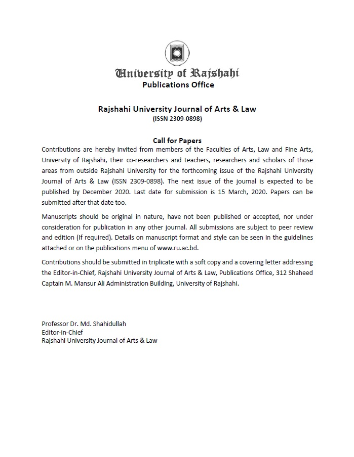 Call For Papers_Rajshahi University Journal of Arts & Law